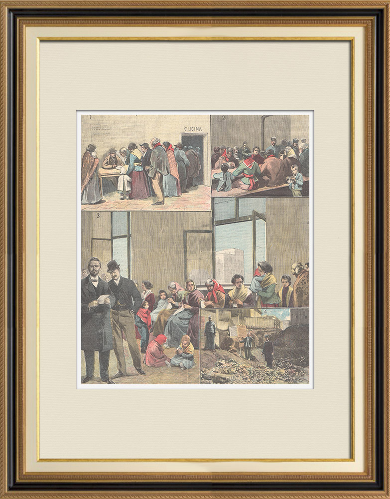 Antique Prints & Drawings   Beggars in Rome - Italy - XIXth Century   Wood engraving   1898