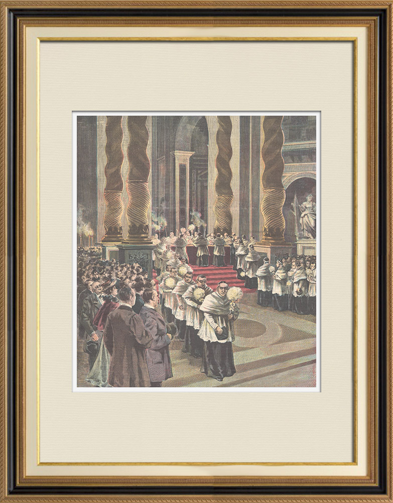 Antique Prints & Drawings   Holy Week in Rome - Maundy Thursday - Washing of the Feet - St. Peter's Basilica - Italy   Wood engraving   1898