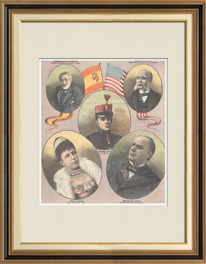 Antique Prints & Drawings | Spanish–American War - Alfonso XIII of Spain - William Mac Kinley - 1898 | Wood engraving | 1898