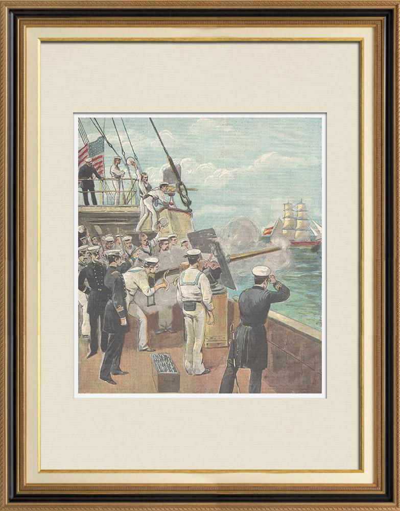 Gravures Anciennes & Dessins | Guerre hispano-américaine - Cuba - Canonnière américaine Nashville - 1898 | Gravure sur bois | 1898