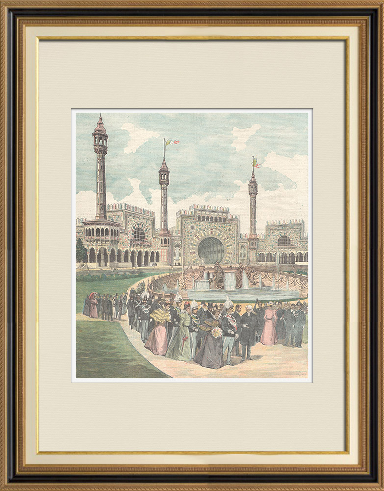 Antique Prints & Drawings   Inauguration of the Turin National Exhibition - Italy - 1898    Wood engraving   1898