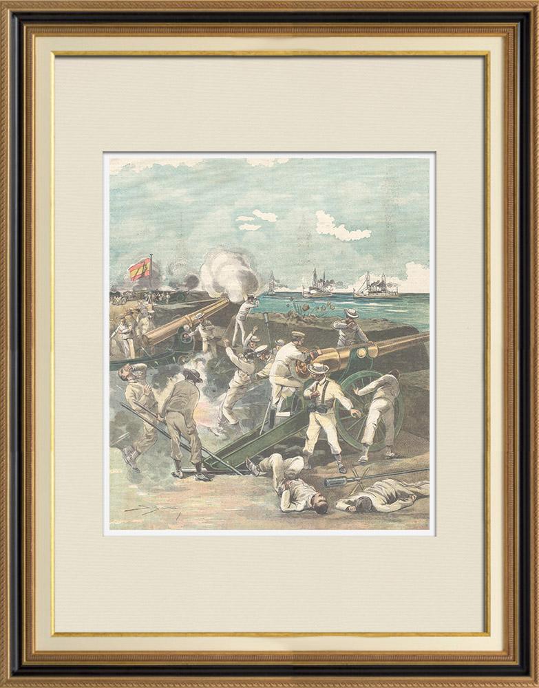 Gravures Anciennes & Dessins   Guerre hispano-américaine - Cuba - Bombardement du fort de Matanzas - 1898   Gravure sur bois   1898