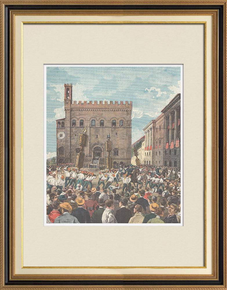 Gravures Anciennes & Dessins | Fête des Cierges à Gubbio - Ombrie (Italie) | Gravure sur bois | 1898
