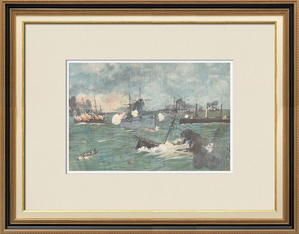 Gravures Anciennes & Dessins | Guerre hispano-américaine - Bataille navale du port de Cavite - Philippines - 1898 | Gravure sur bois | 1898