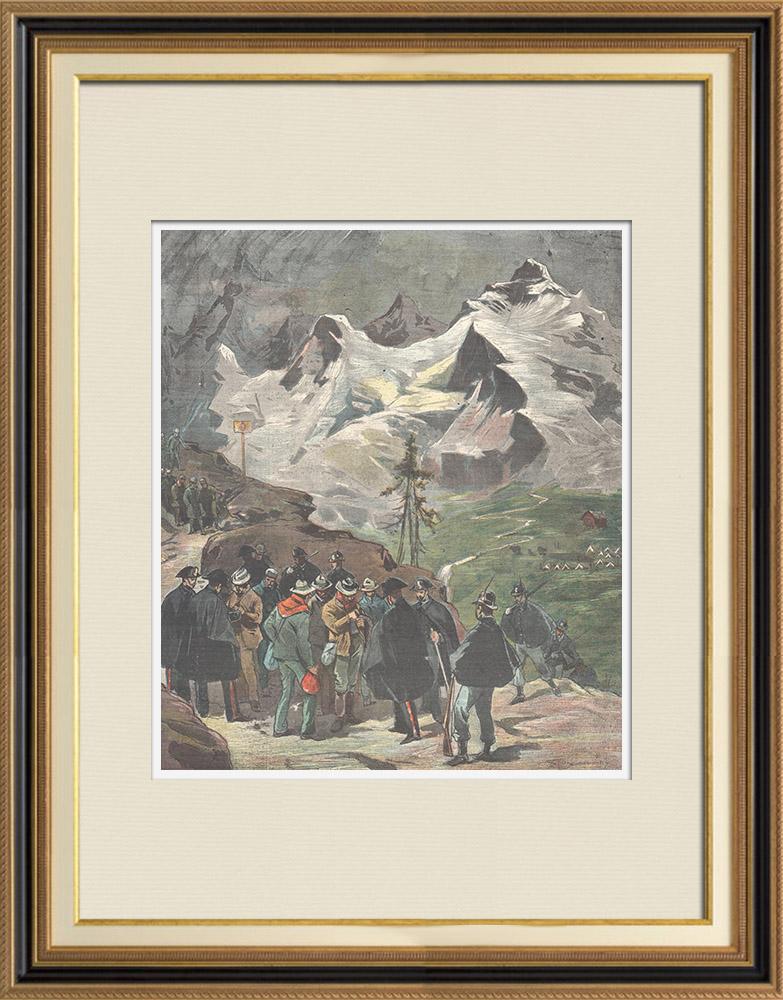 Gravures Anciennes & Dessins   Arrestation de travailleurs italiens ayant franchi la frontière - Col du Simplon - Suisse   Gravure sur bois   1898