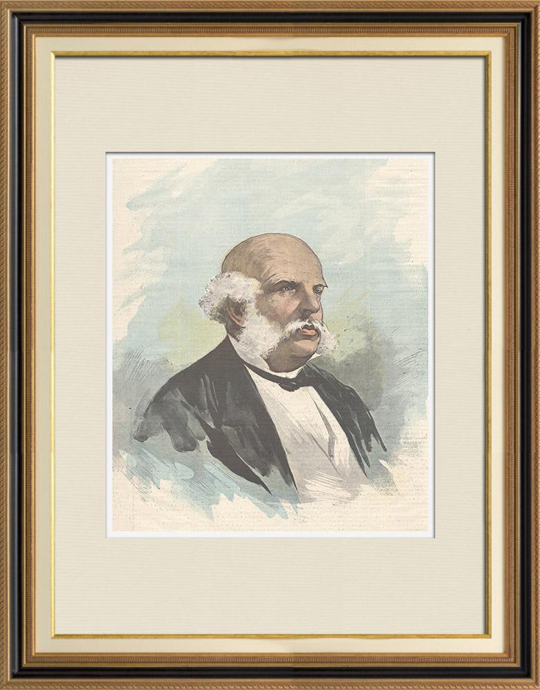 Gravures Anciennes & Dessins | Portrait de Benedetto Brin (1833-1898) | Gravure sur bois | 1898