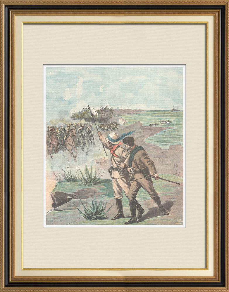 Gravures Anciennes & Dessins   Guerre hispano-américaine - Journalistes américains faits prisonniers à Mariel - Cuba - 1898   Gravure sur bois   1898