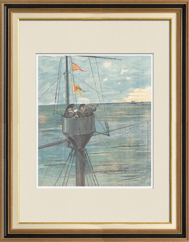 Gravures Anciennes & Dessins | Guerre hispano-américaine - À l'affût! - Surveillance de la mer - Santiago de Cuba - 1898 | Gravure sur bois | 1898