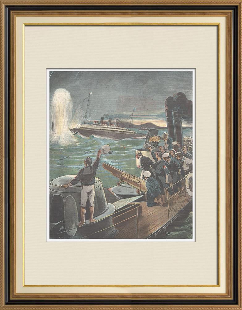 Antique Prints & Drawings | Spanish–American War - An american steamer is sunken - Santiago de Cuba - 1898 | Wood engraving | 1898