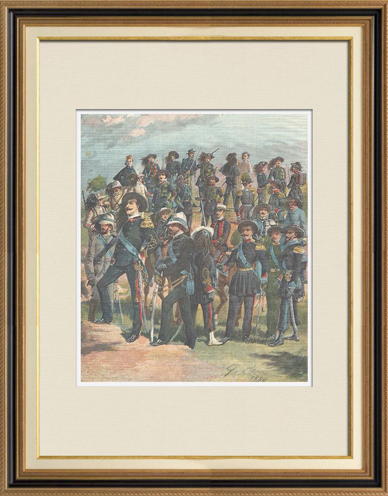 Antique Prints & Drawings | Italian army - Military Uniform - Bersaglieri - XIXth Century | Wood engraving | 1898