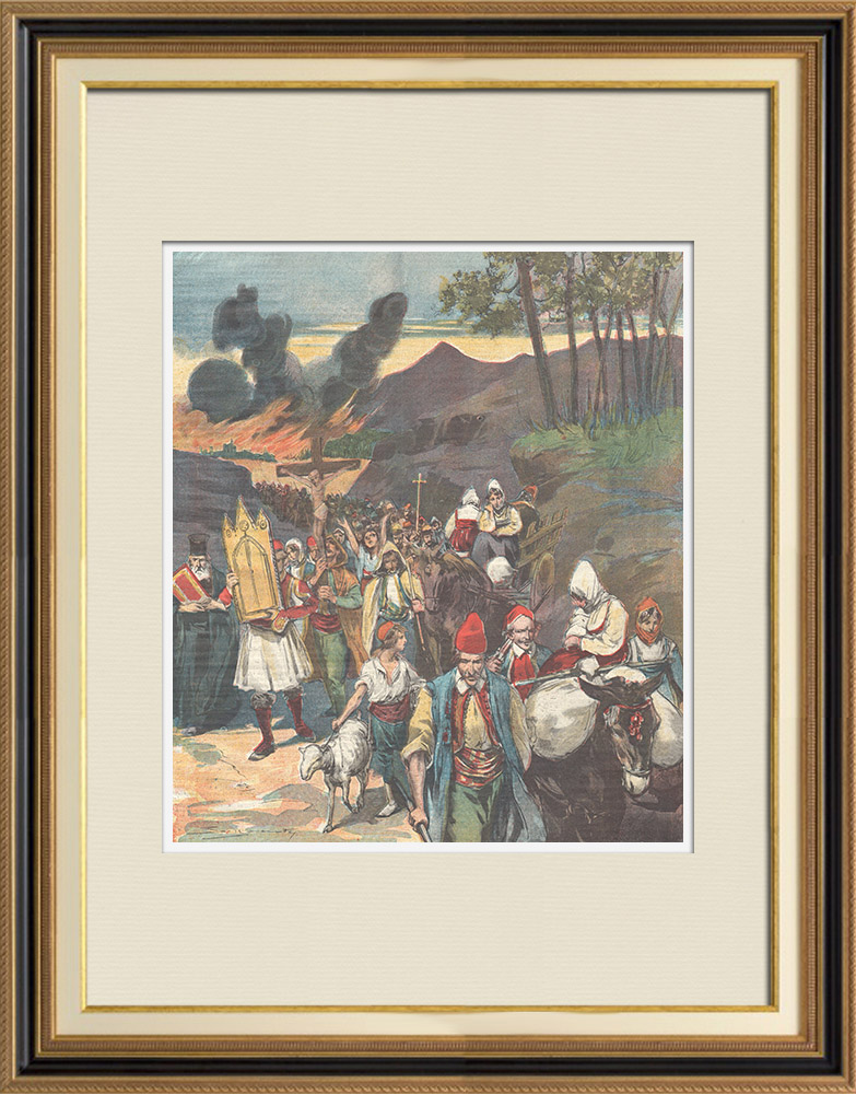 Antique Prints & Drawings | Greek patriotism - Exodus of Greek peasants - Greek-Turkish border - 1898 | Wood engraving | 1898
