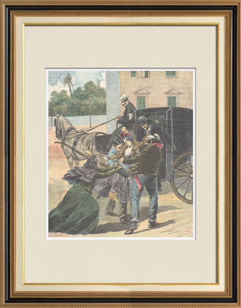 Gravures Anciennes & Dessins   Enlèvement mystérieux d'une demoiselle à Palerme - Sicile - Italie - 1898   Gravure sur bois   1898