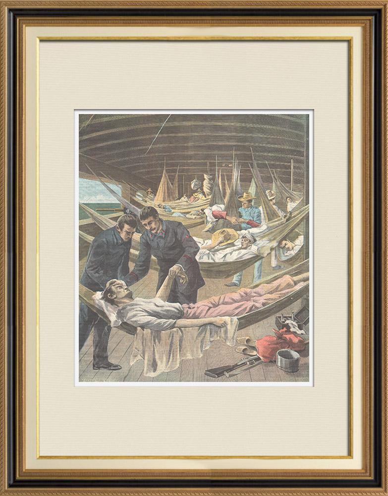 Gravures Anciennes & Dessins | Guerre hispano-américaine - Un hopital à bord d'un navire - Cuba - 1898 | Gravure sur bois | 1898