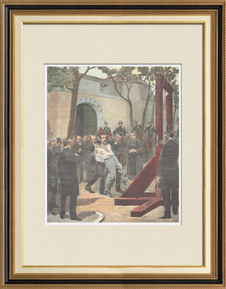 Gravures Anciennes & Dessins   Crime du Kremlin-Bicêtre - Exécution de l'assassin Carrara à Paris - France - 1898   Gravure sur bois   1898