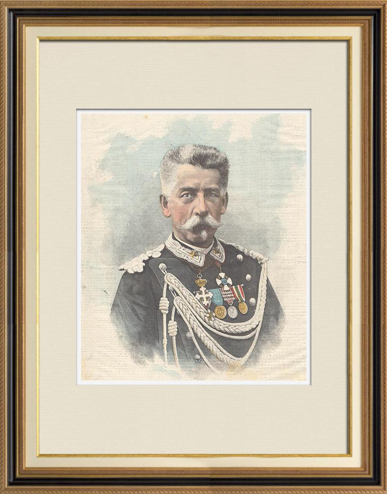 Gravures Anciennes & Dessins | Portrait du général Luigi Pelloux (1839-1924) | Gravure sur bois | 1898