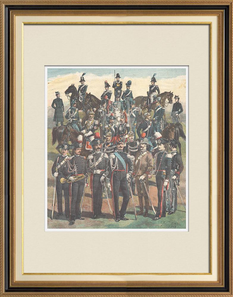 Gravures Anciennes & Dessins | Armée Italienne - Uniforme Militaire - Carabiniers du Roi - XIXème Siècle | Gravure sur bois | 1898