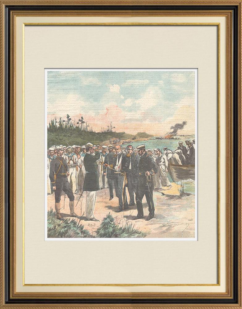 Gravures Anciennes & Dessins | Guerre hispano-américaine - Reddition de l'Amiral Cervera - Santiago de Cuba - 1898 | Gravure sur bois | 1898