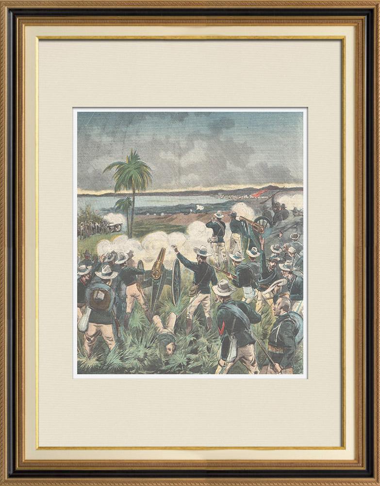 Gravures Anciennes & Dessins | Guerre hispano-américaine - Reddition de la flotte espagnole - Santiago de Cuba - 1898 | Gravure sur bois | 1898
