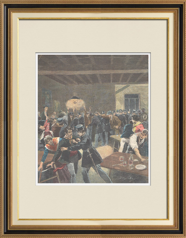 Antique Prints & Drawings | Knife hunting in Rome - Police in a popular tavern - Italy - 1898 | Wood engraving | 1898