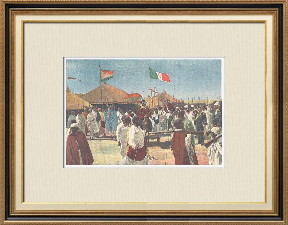 Antique Prints & Drawings | Menelik II visits captain Ciccodicola - Traditional Costume - Ethiopia - 1898 | Wood engraving | 1898