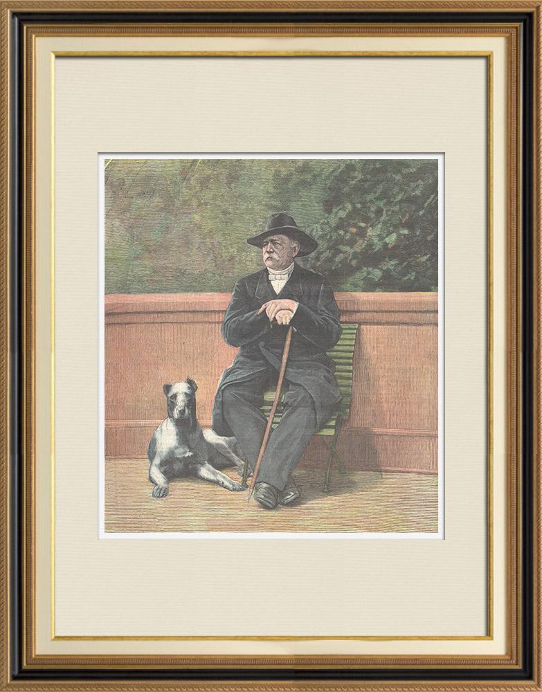 Gravures Anciennes & Dessins | Portrait de Otto von Bismarck assis (1815-1898) | Gravure sur bois | 1898