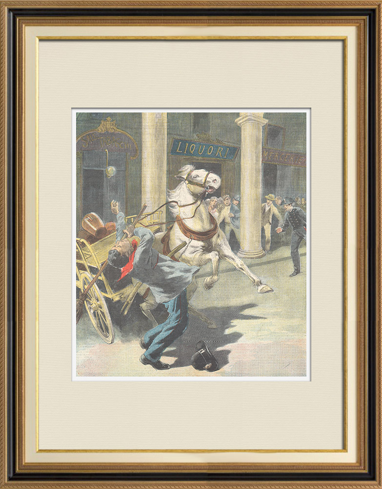 Antique Prints & Drawings | A man stops a packed horse in Turin - Italy - 1898 | Wood engraving | 1898