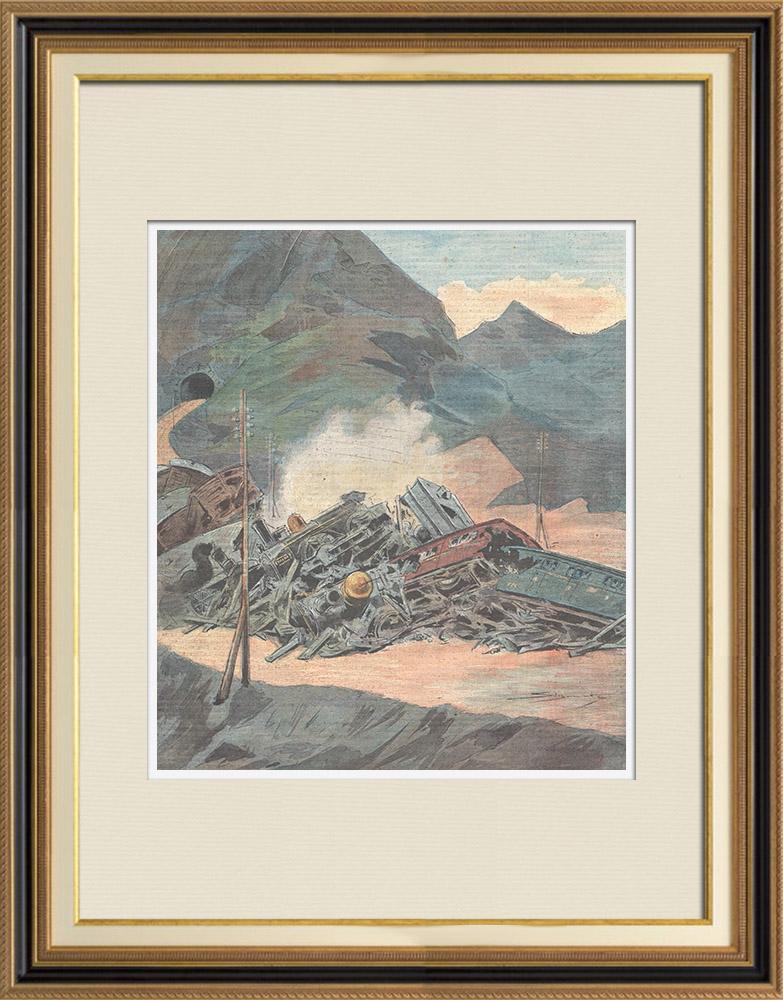 Gravures Anciennes & Dessins   Accident ferroviaire à Pontedecimo - Gênes - Italie - 1898   Gravure sur bois   1898