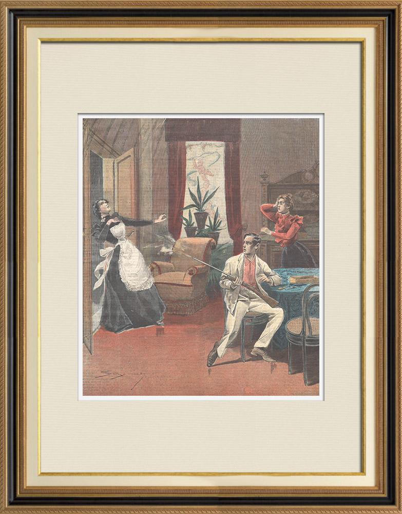 Gravures Anciennes & Dessins | Une femme de chambre tuée par imprudence à Coni - Piémont - Italie - 1898 | Gravure sur bois | 1898