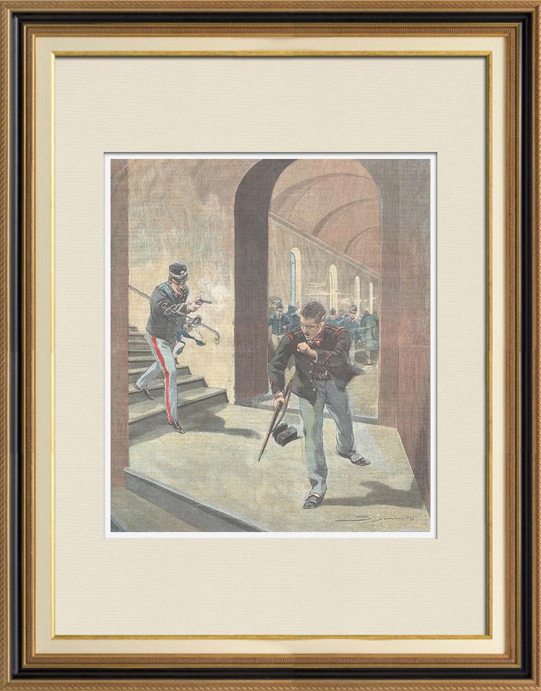 Gravures Anciennes & Dessins | Drame de la folie au Fort Valdilocchi - Ligurie - Italie - 1898 | Gravure sur bois | 1898