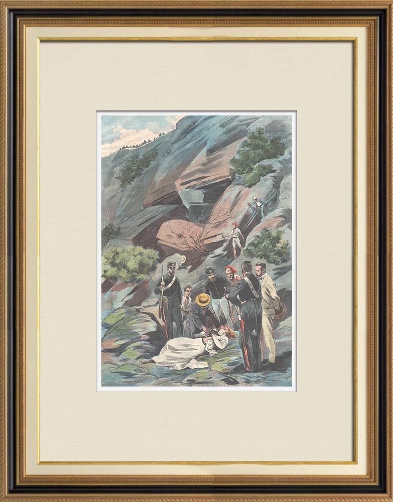 Gravures Anciennes & Dessins | Une femme tombée dans un ravin près de Positano - Campanie - Italie - 1898 | Gravure sur bois | 1898