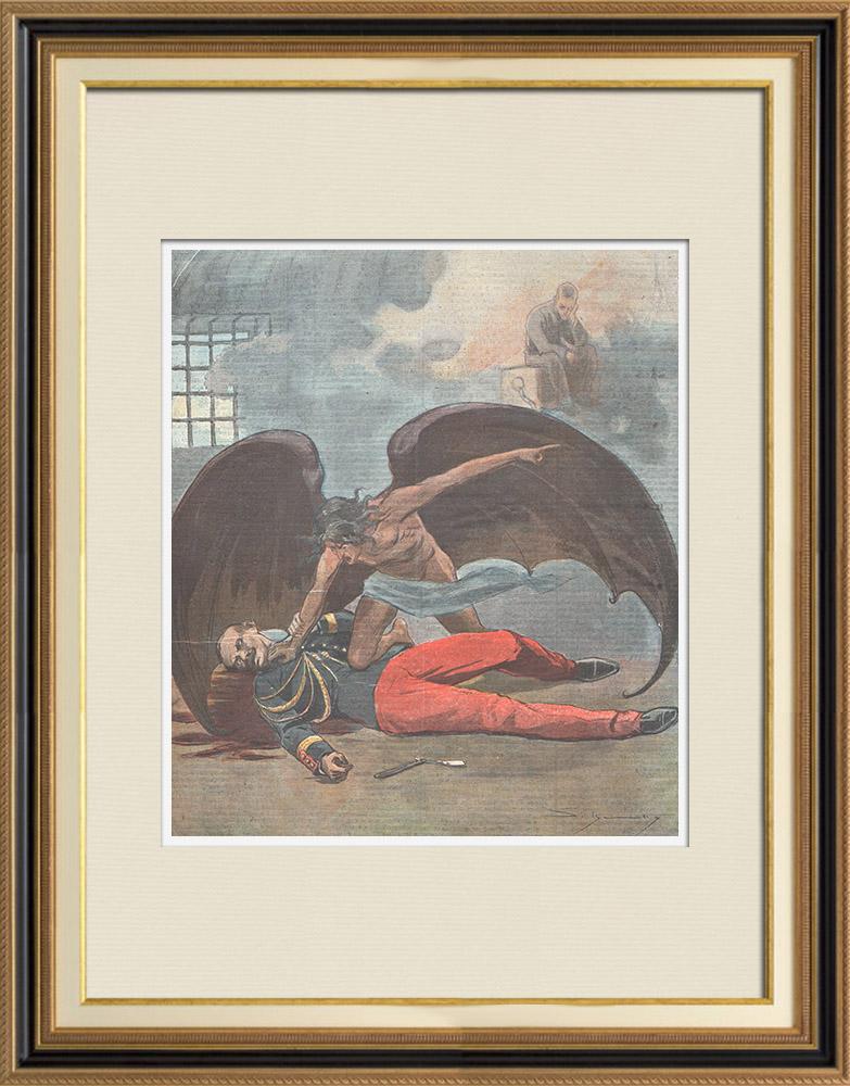 Gravures Anciennes & Dessins | Affaire Dreyfus - Suicide du Colonel Henry au fort du Mont Valérien - 1898 | Gravure sur bois | 1898