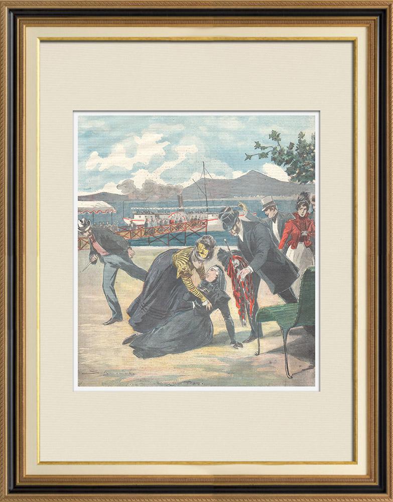 Gravures Anciennes & Dessins | Assassinat de Élisabeth Impératrice d'Autriche à Gênes - Italie - 1898 | Gravure sur bois | 1898