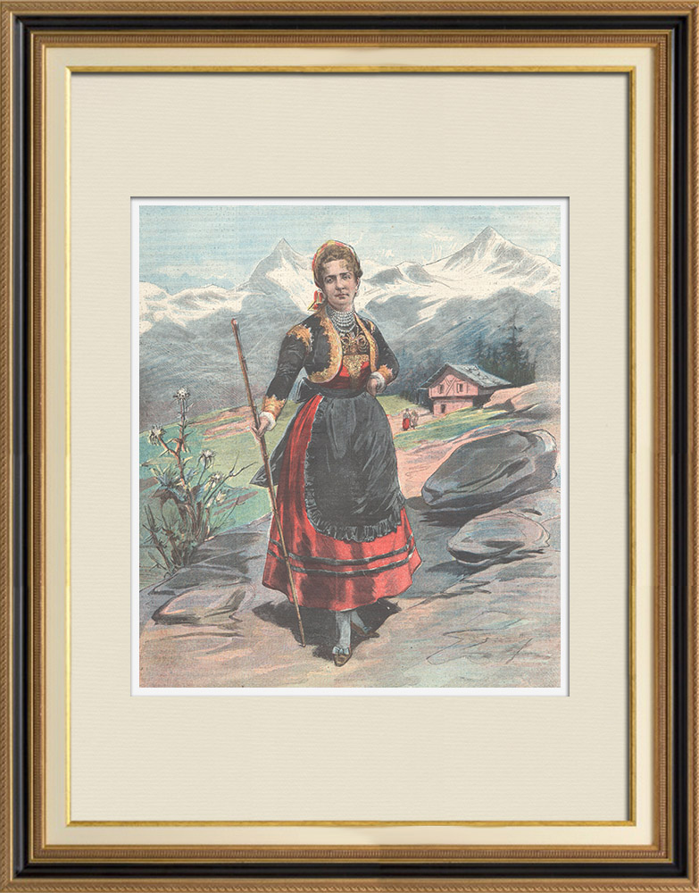 Antique Prints & Drawings | Portrait of Queen Margherita of Savoy in Gressoney - Costume of the Aosta Valley - 1898 | Wood engraving | 1898