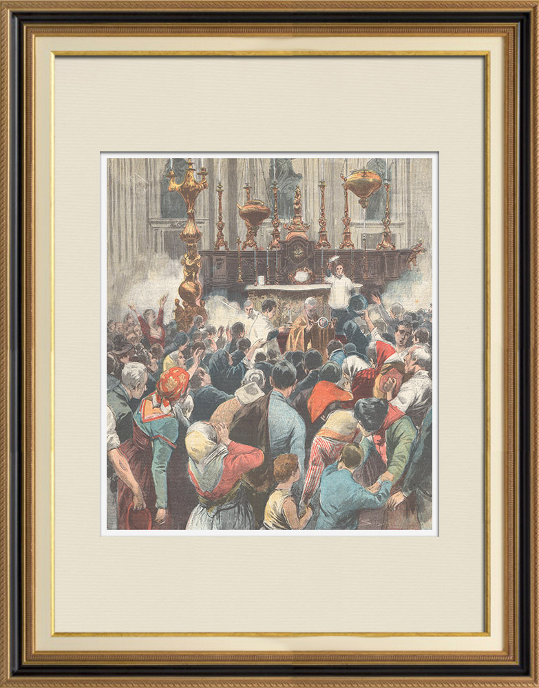 Antique Prints & Drawings | Miracle of Saint Januarius in Naples (Italy) | Wood engraving | 1898