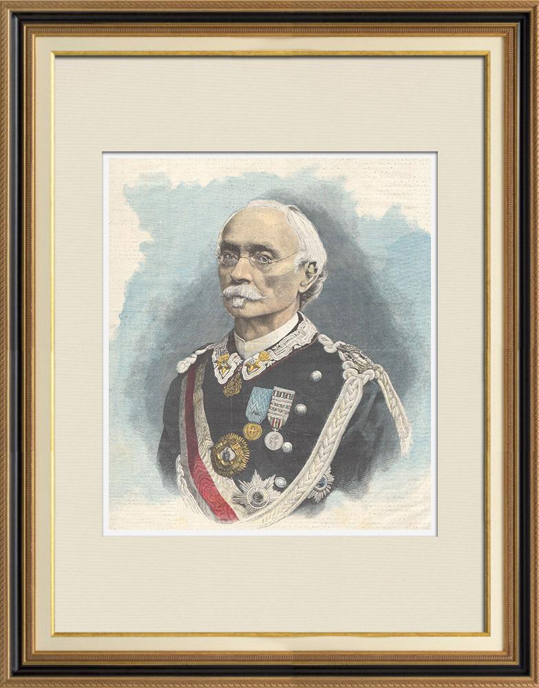 Gravures Anciennes & Dessins | Portrait du général Enrico Cosenz (1820-1898) | Gravure sur bois | 1898