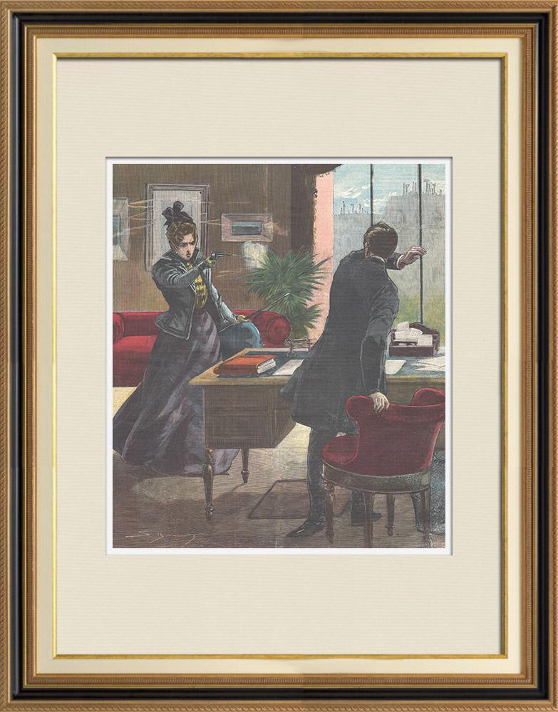 Gravures Anciennes & Dessins | Tentative d'assassinat dans les bureaux du journal La Lanterne à Paris - France - 1898 | Gravure sur bois | 1898