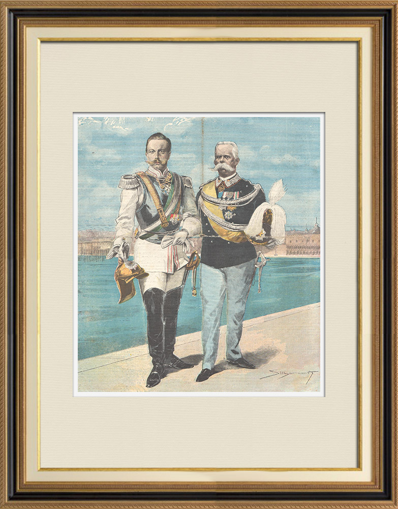 Antique Prints & Drawings | Portrait of Umberto I of Italy and Wilhelm II of Germany in Venice - Italy - 1898 | Wood engraving | 1898