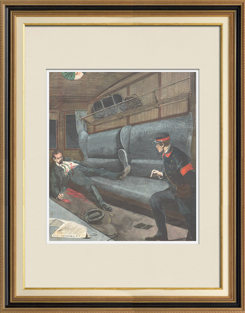 Antique Prints & Drawings | Discovery of a corpse in a train - Paris - France - 1898 | Wood engraving | 1898