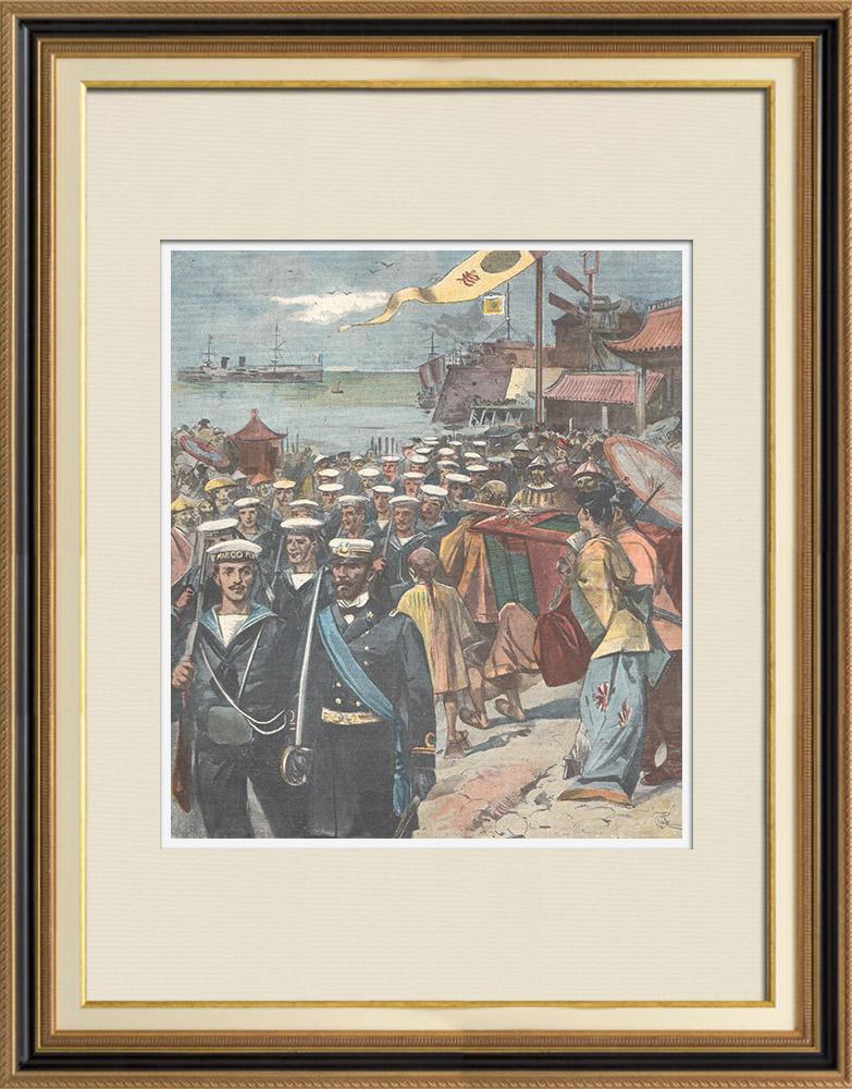 Gravures Anciennes & Dessins | Révolte des Boxers - Débarquement de marins italiens à Pékin - Chine - 1898 | Gravure sur bois | 1898