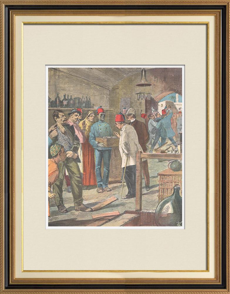 Gravures Anciennes & Dessins | Complot anarchiste contre l'empereur Guillaume II d'Allemagne - Egypte - 1898 | Gravure sur bois | 1898