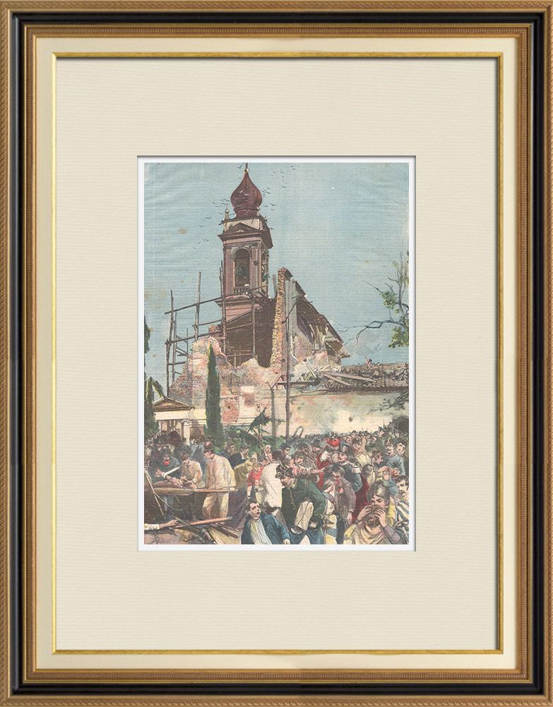 Antique Prints & Drawings   Landslide of the Church of Santa Lucia near Verona - Italy - 1898   Wood engraving   1898