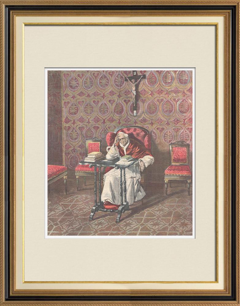 Gravures Anciennes & Dessins | Portrait du Pape Léon XIII dans son cabinet de travail - Vatican - 1898 | Gravure sur bois | 1898