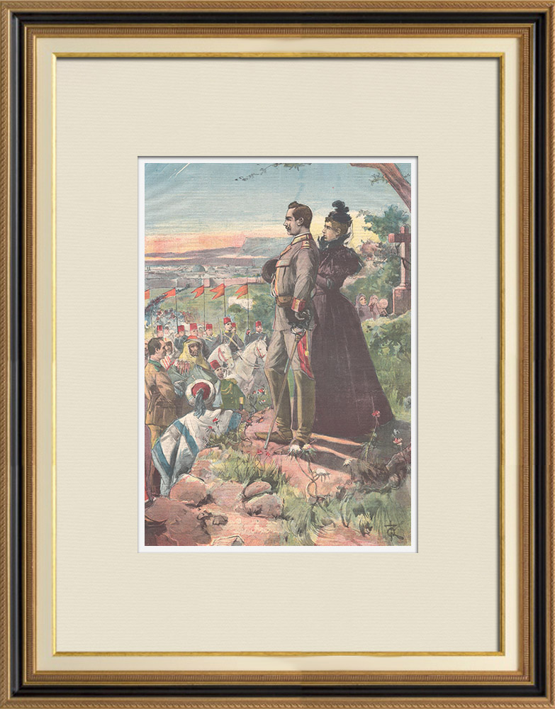 Antique Prints & Drawings | The emperor Wilhelm II of Germany on the Mount of Olives near Jerusalem - 1898 | Wood engraving | 1898