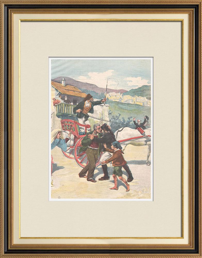 Gravures Anciennes & Dessins   Un innocent libéré après 30 ans de réclusion à perpétuité - Sardaigne - Italie - 1898   Gravure sur bois   1898