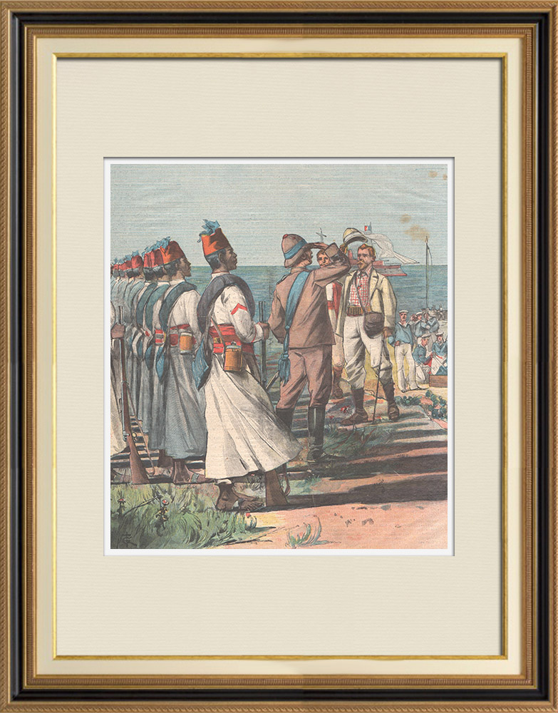 Antique Prints & Drawings   French gunboat Scorpion lands on the coast of Rahayto - Eritrea - 1898   Wood engraving   1898