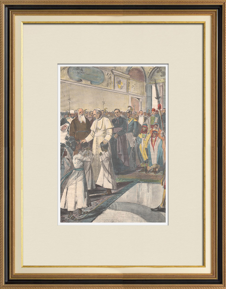 Gravures Anciennes & Dessins | Le Pape reçoit missionnaires et indigènes d'Abyssinie - Vatican - 1898 | Gravure sur bois | 1898