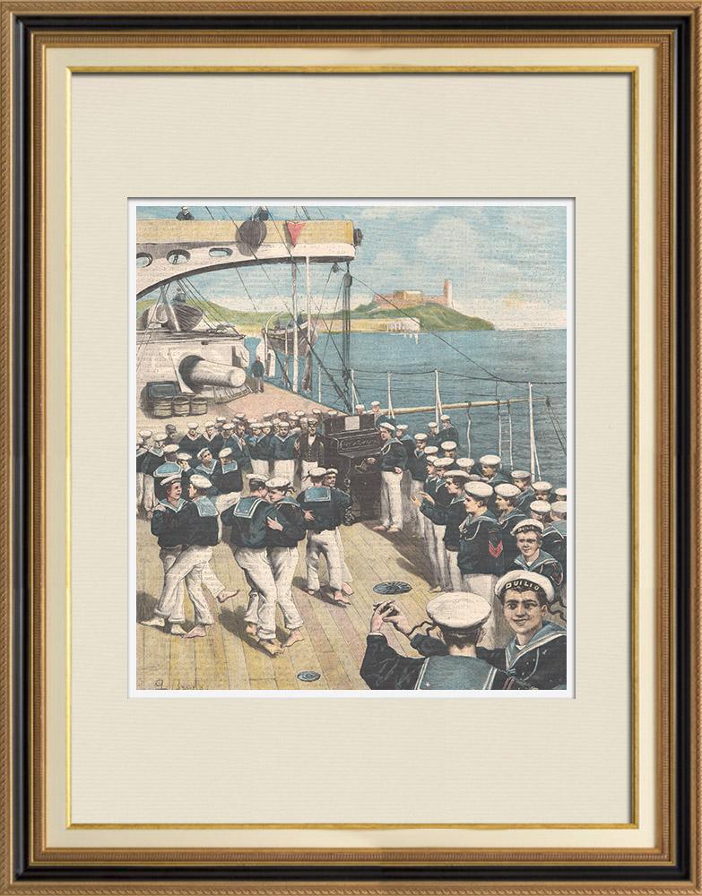 Gravures Anciennes & Dessins | Marine italienne - Dimanche à bord d'un navire de guerre - Italie | Gravure sur bois | 1898