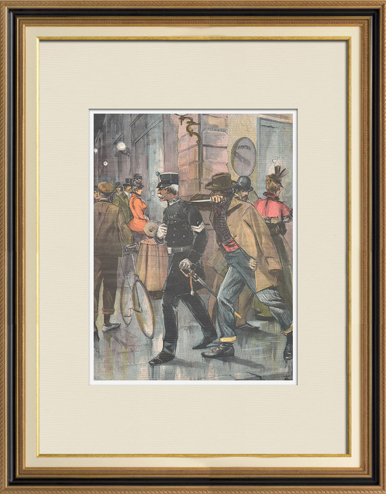 Antique Prints & Drawings | Assassination in Livorno - Tuscany - Italy - 1898 | Wood engraving | 1898