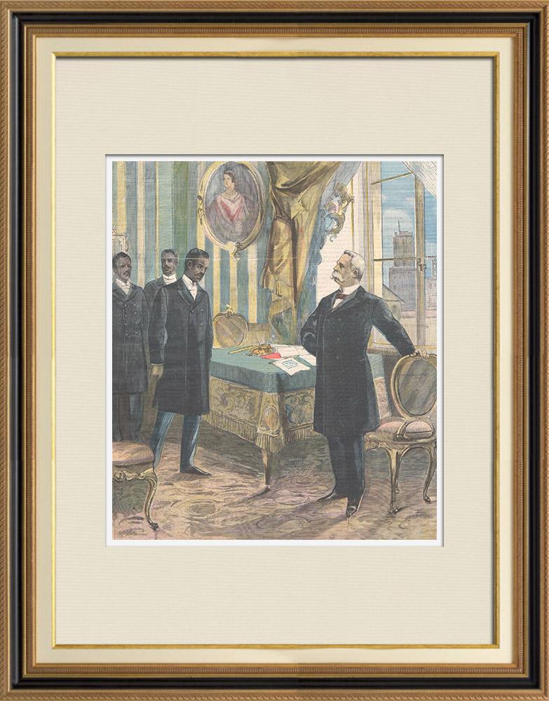 Grabados & Dibujos Antiguos   El rey recibe al príncipe abisinio Gugsa, sobrino de Menelik II - Italia - 1898   Grabado xilográfico   1898