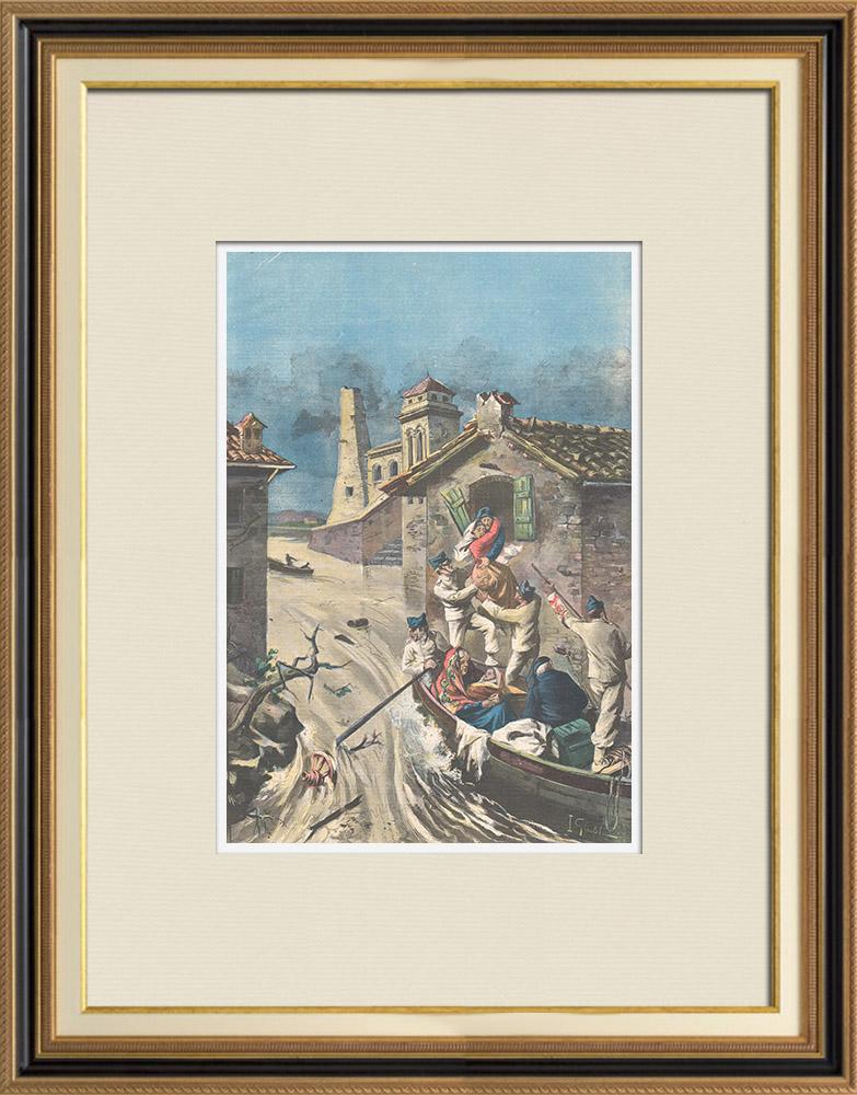Antique Prints & Drawings | Floods in Sardinia - Italy - 1898 | Wood engraving | 1898
